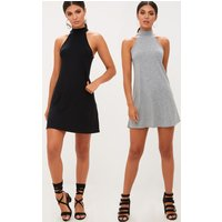 2 Pack Black & Grey Jersey High Neck Swing Dress