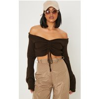 Chocolate Ruched Knit Extreme Sleeve Crop Jumper