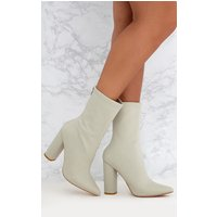 Addie Light Grey Neoprene Pointed Sock Boots