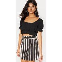 Black Stripe Belted Waist Print Mini Skirt