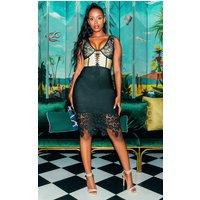 Black Bandage Crochet Lace Up Midi Dress