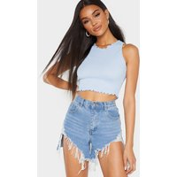 Baby Blue Rib Frill Detail High Neck Crop Top
