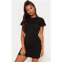 Black Layered Oversized T Shirt Dress