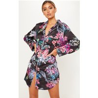 Black Floral Contrast Pocket Detail Shirt Dress