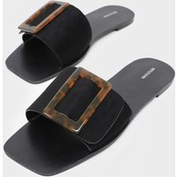 Black Buckle Mule Sandal