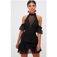Black Crochet Mesh Frill Detail Bodycon Dress