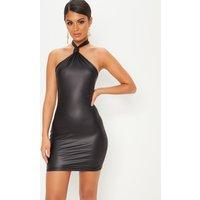 Black Halterneck Knot Detail Bodycon Dress