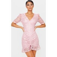Image of Dusty Pink Lace Ruched Detail Bodycon Dress, Dusty Pink