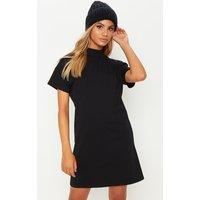 Black High Neck Oversized T Shirt Dress