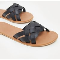 Black Plaited Mule Sandal