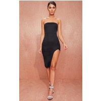 Black Crepe Bandeau Split Front Midi Dress