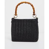 Black Bamboo Handle Raffia Cross Body
