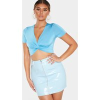 Aqua Slinky Twist Front Crop Top