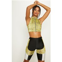 Black Cycling Shorts With Lime Contrast