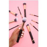 10 Piece Black Marble Effect Makeup Brush Set