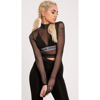 Janie Black Mesh High Neck Longsleeve Crop Top