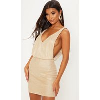 Gold Knitted Glitter Side Boob Bodycon Dress