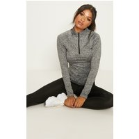 Black Speckle Long Sleeve Zip Up Top