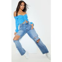 Blue Ruched Knit Extreme Sleeve Cropped Jumper