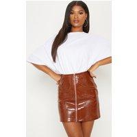 Brown Croc Effect Mini Skirt