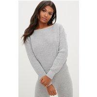 Grey Knitted Slash Neck Crop Jumper