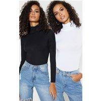 Basic Black & White 2 Pack Roll Neck Long Sleeved Bodysuit