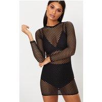 Black Fishnet Mesh Long Sleeved Bodycon Dress