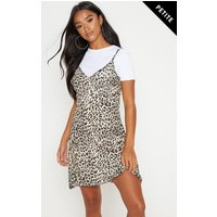 Petite Brown Leopard Print Swing Dress