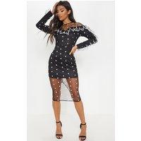 Black Polka Dot Mesh Scalloped Trim Detail Midi Dress