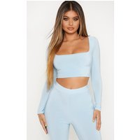 Baby Blue Slinky Scoop Neck Long Sleeve Crop Top