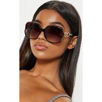 Brown Oversized Gold Link Detail Tinted Sunglasses