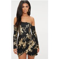 Black Floral Sequin Bardot Bodycon Dress