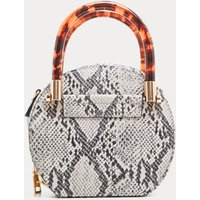 Grey Snakeprint Tortoiseshell Handle Cross Body Bag