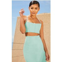 Aqua Second Skin Binding Detail Crop Top
