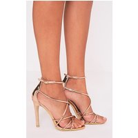Duaya Rose Gold Metallic Multi Strap Heeled Sandals, Pink