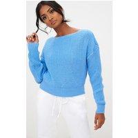 Blue Knit Slash Neck Crop Jumper