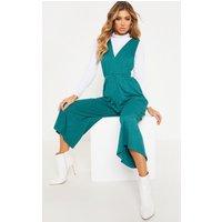 Emerald Green V Strap Culotte Jumpsuit