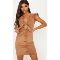 Brown Cord Tie Front Detail Pleated Sleeve Mini Dress