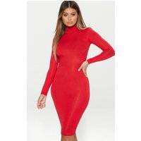 Basic Red Roll Neck Midi Dress