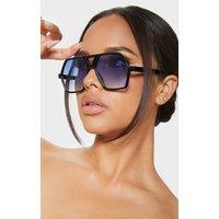 Blue Lens Flat Top Black Frame Hex Shape Sunglasses