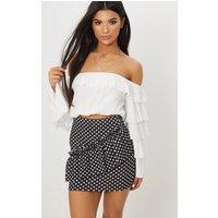 Black Polka Dot Frill Mini Skirt