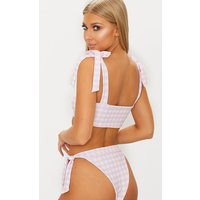 Baby Pink Gingham Tie Side Bikini Bottom