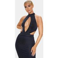 Black Textured Glitter Halterneck Bodysuit