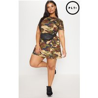Plus Green Camo Swing Dress