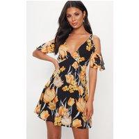 Black Floral Frill Sleeve Skater Dress