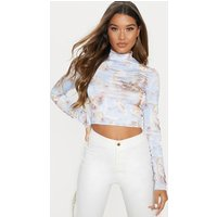 Baby Blue Renaissance Printed High Neck Long Sleeve Crop Top