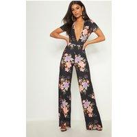 Black Floral Crepe Short Sleeve Plunge Jumpsuit