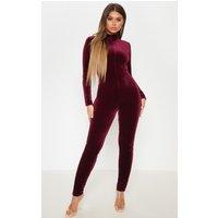 Image of Wine Velvet Zip Front High Neck Jumpsuit