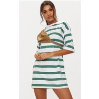 Emerald Green Striped Oversized Boyfriend T Shirt Dress
