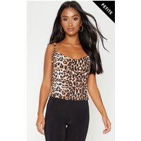 Petite Tan Leopard Print Cowl Neck Cami Top